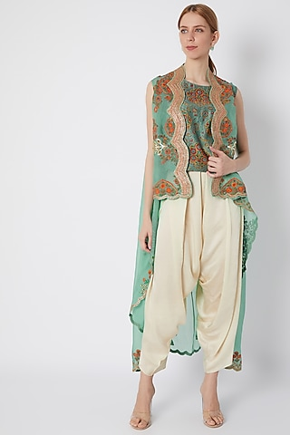 Turquoise Embroidered Jacket With Top & Pants by Debyani