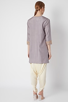 Grey Embroidered & Printed Kurta Set by Debyani