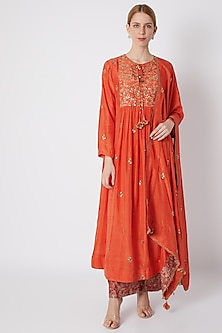 Orange Embroidered & Printed Kurta Set by Debyani