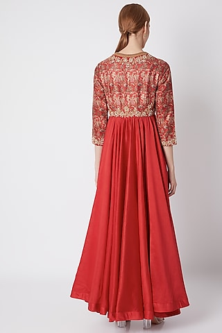 Red Embroidered & Printed Tunic With Pants by Debyani
