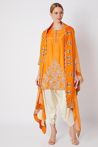 Orange Embroidered Kurta Set by Debyani