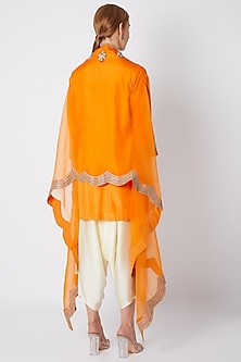 Orange Embroidered Kurta Set by Debyani