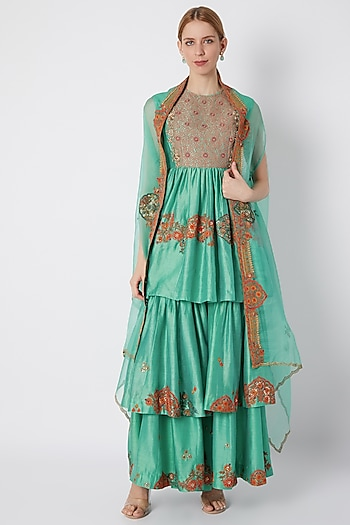 Turquoise Embroidered & Printed Sharara Set by Debyani