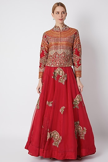 Red Embroidered Jacket With Skirt by Debyani