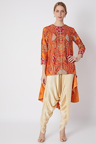 Orange Embroidered Jacket With Pants by Debyani