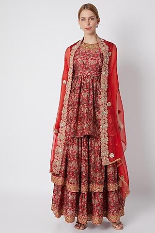 Red Embroidered & Printed Sharara Set by Debyani