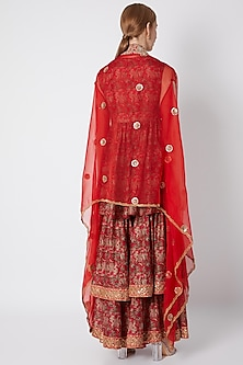 Red Embroidered & Printed Sharara Set by Debyani