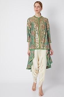 Turquoise Embroidered & Printed Jacket With Pants by Debyani