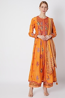Orange Embroidered Gathered Kurta Set by Debyani
