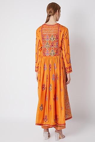 Orange Embroidered Gathered Kurta Set by Debyani