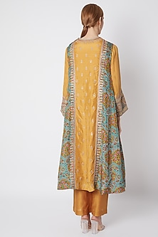 Mustard Zardosi Embroidered Kurta Set by Debyani