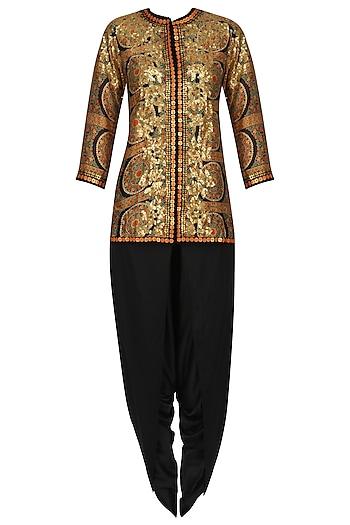 Black Chakri Printed Trail Jacket and Dhoti Pants Set by Debyani