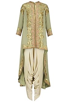 Sea Green Sequins Embroidered Trail Jacket and Ivory Dhoti Pants Set by Debyani