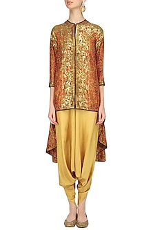 Orange Sequins Embroidered Trail Jacket and Beige Dhoti Pants Set by Debyani