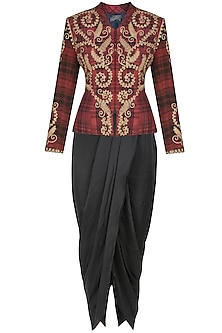 Maroon peplum scottish jacket with black dhoti pants by Debyani