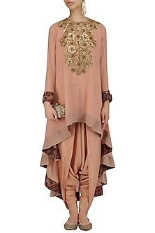 Pale Pink Sequins Embroidered Tunic and Dhoti Pants Set by Debyani