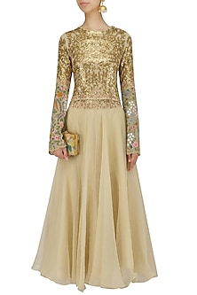 Ivory Sequins and Floral Work Crop Top and Dhoti Pants Set by Debyani