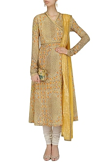 Yellow Printed Kalidaar Kurta Set by Debyani