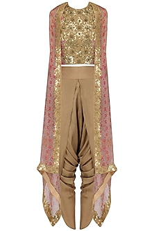 Gold Sequinned Crop Top, Dhoti Pants and Cape Set by Debyani