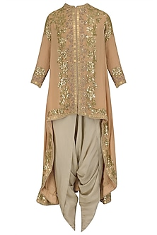 Pale Pink Sequinned Trail Jacket and Dhoti Pants Set by Debyani