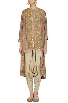 Pale Grey Sequinned Trail Jacket and Dhoti Pants Set by Debyani