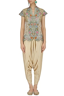 Pista Green Floral Embroidered Jacket and Dhoti Pants Set by Debyani