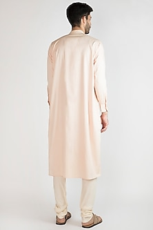 Light Pink Embroidered Kurta With Off White Pants by Devanshi Didwania