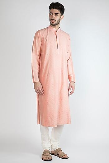 Blush Pink Pintex Kurta With Pants by Devanshi Didwania