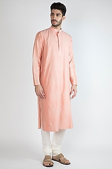 Blush Pink Pintex Kurta With Pants by Devanshi Didwania