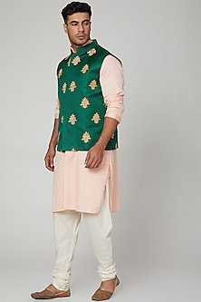 Emerald Green Embroidered Jacket by Devanshi Didwania