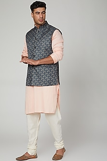 Blue Printed Nehru Jacket by Devanshi Didwania