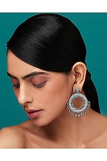 Gun Grey Earrings With Swarovski Crystals & Pearls by Deepa by Deepa Gurnani X Confluence