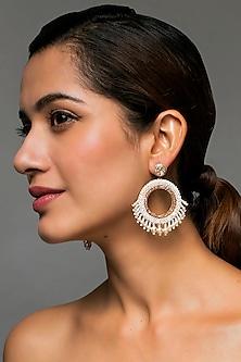 Ivory Earrings With Swarovski Crystals & Pearls by Deepa by Deepa Gurnani X Confluence