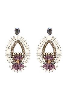 Silver Finish Earrings With Swarovski Crystals by Deepa by Deepa Gurnani X Confluence
