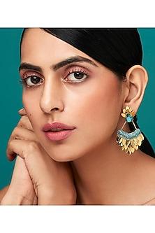 Gold Finish Long Earrings With Swarovski Crystals by Deepa by Deepa Gurnani X Confluence