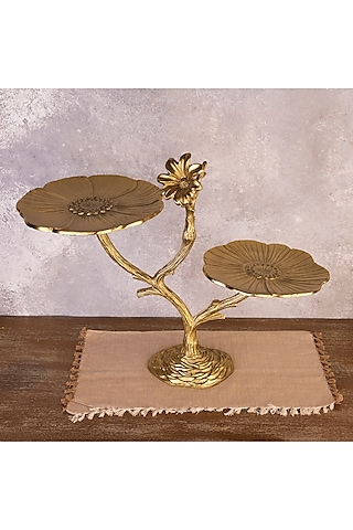 Gold Metal Dessert Tray by The 7 Dekor