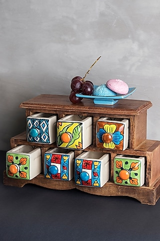Multi Colored Wood & Ceramic Handcrafted Storage Cabinet by The 7 Dekor