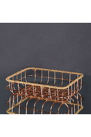 Rose Gold Metal Multi-Purpose Baskets (Set of 2) by The 7 Dekor