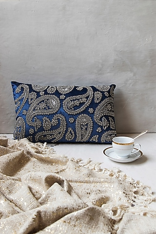 Royal Blue Viscose Embroidered Duck Cushion With Filler by The 7 Dekor