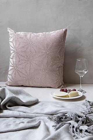 Blush Pink Embellished Viscose Cushion With Filler by The 7 Dekor