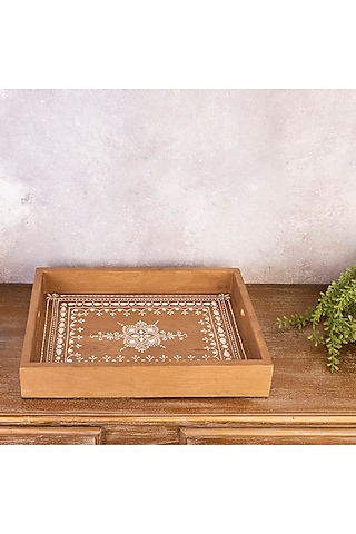 Brown Pure Teak Wood Hand-Painted Rectangle Tray by The 7 Dekor