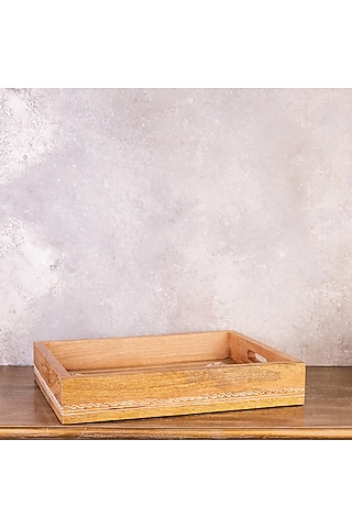 Brown Pure Teak Wood Handcrafted Rectangle Tray by The 7 Dekor