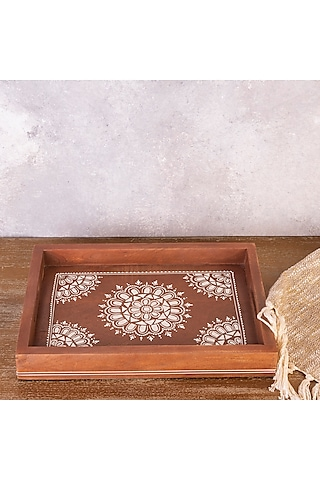 Brown Handcrafted Pure Teak Wood Rectangle Tray by The 7 Dekor