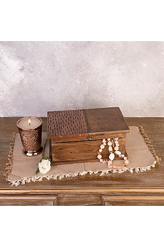 Copper Handcrafted Mango Wood Storage Boxes (Set of 2) by The 7 Dekor