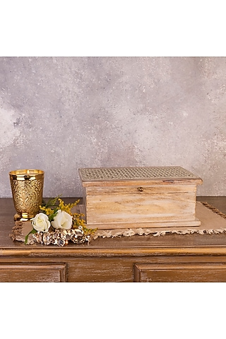 Brown Handcrafted Mango Wood Storage Box by The 7 Dekor