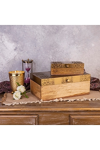 Gold Mango Wood Handcrafted Storage Boxes (Set of 2) by The 7 Dekor