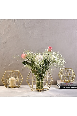 Gold Metal Candle Stands (Set of 3) by The 7 Dekor