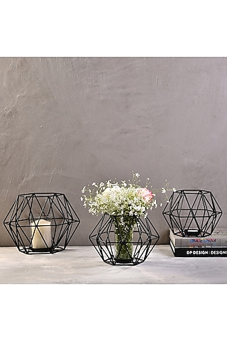 Black Metal Candle Stands (Set of 3) by The 7 Dekor
