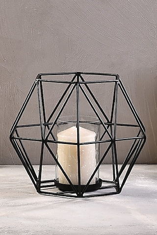 Gold Metal Hexa Candle Stands (Set of 2) by The 7 Dekor