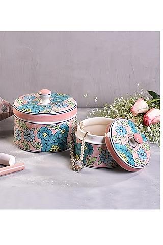 Pastel Green Ceramic Handcrafted Multi-Purpose Jars (Set of 2) by The 7 Dekor